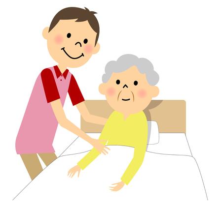 De oudere dame die verpleegkunde ontvangt