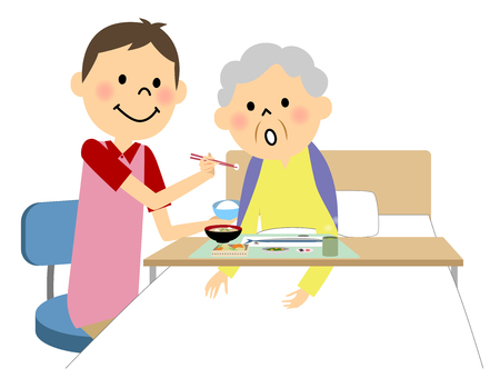The elderly lady assisted by a meal nurse Illustration