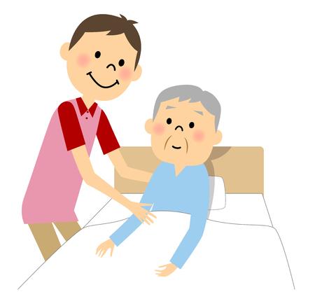 he elderly man who receives nursing Illustration