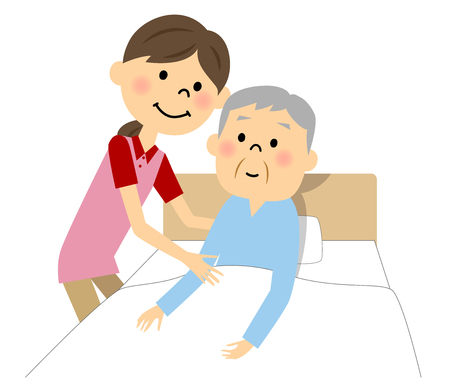 sick bed: The elderly man who receives nursing