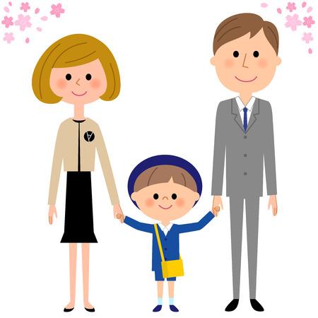 Kindergarten child, child nursery school, parents, and cherry blossoms