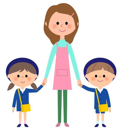 kindergarten child, child nursery school, teacher Иллюстрация