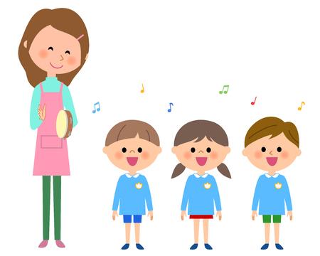 Singing kindergarten child, nursery school child 向量圖像