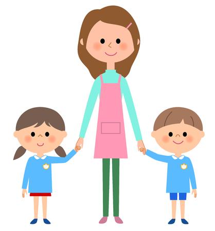 kindergarten child, child nursery school, teacher Illustration