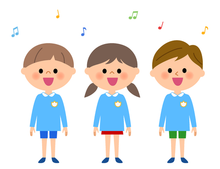 Singing kindergarten child, nursery school child Illustration