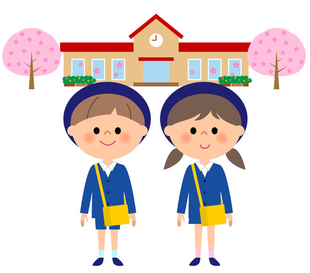 Kindergarten child, child nursery school, cherry blossoms Illustration