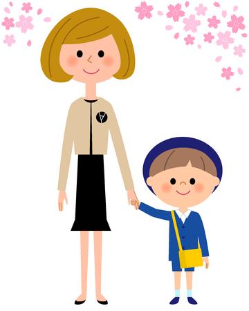 Kindergarten child, nursery school child, mother, cherry blossoms