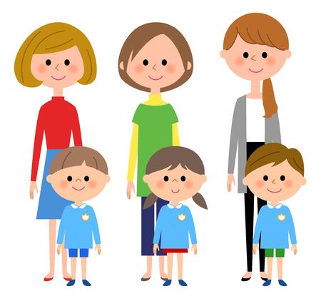 Kindergarten child, nursery school child, mother