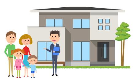 가족 및 부동산 중개인 일러스트