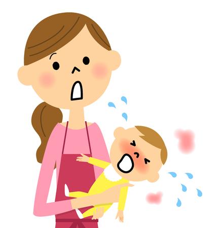 Baby with fever Stock Illustratie