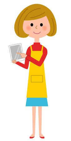 Apron woman touching tablet Illustration