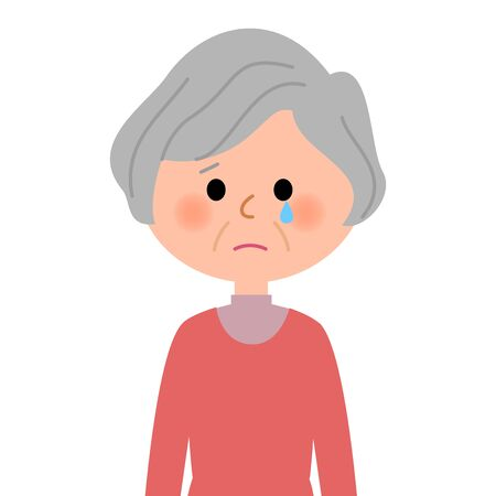 Elderly women, Cry Illustration