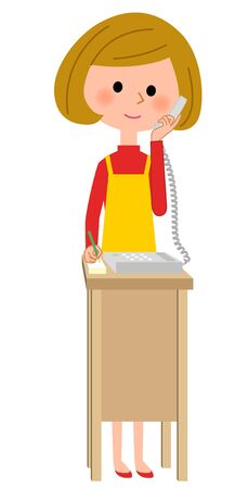 The female of the apron who speaks by telephone Illustration