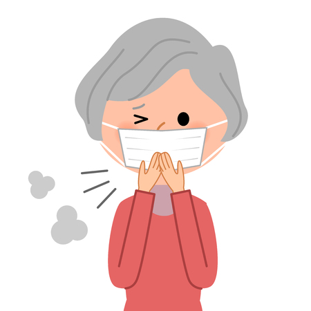 Elderly women, Physical condition badness Illustration