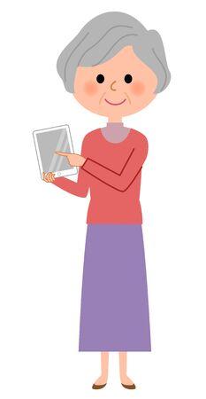 Elerly women, Tablet Illustration