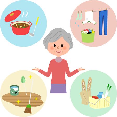高齢女性、様々 な家事  イラスト・ベクター素材