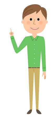 Young man, Finger pointing Illustration