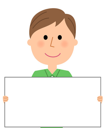 Young man, White board Illustration