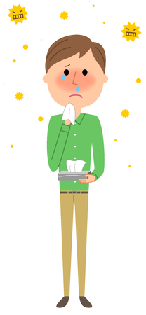 Young man, Hay fever Illustration