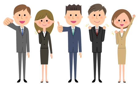 Business team, People in suit Vector Illustration