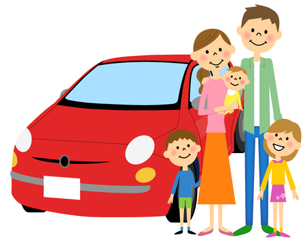 asian family: Decorative illustration concept of a family and car