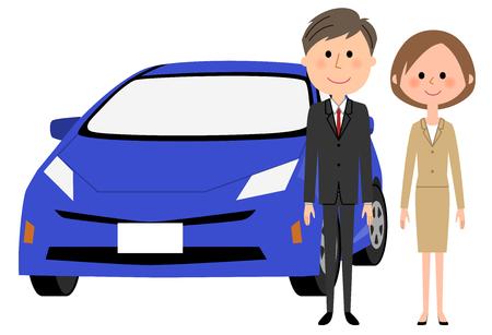 Decorative illustration concept of a businessman and car Illustration
