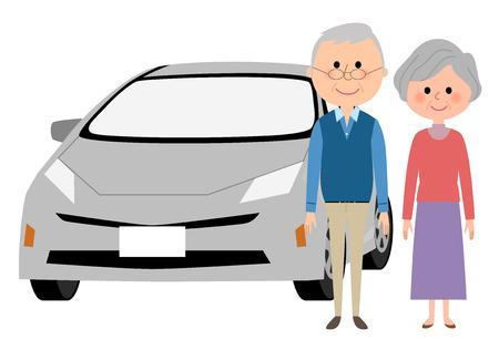 Elderly couple and car Illustration