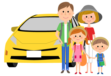 Happy family and car