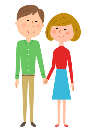 asian family fun: Young couple, Hold hands