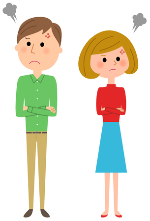 resentment: Young couple, Fight Illustration