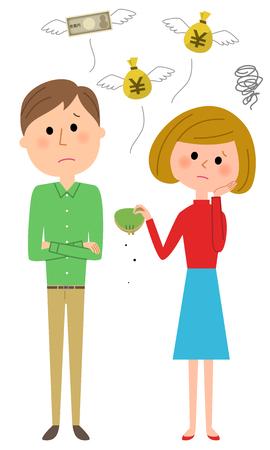 Young couple, I'm broke. Stock Illustratie
