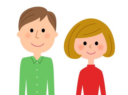 Jeune couple, Sourire Vecteurs