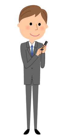 Young businessman, phone. Illustration