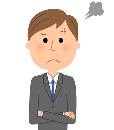 Young businessman, Anger. Illustration