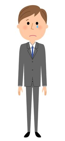 uneasy: Young businessman, cry.