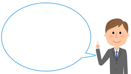 Joven empresario con burbuja de texto en blanco y globo.