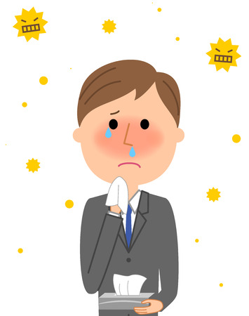 Young businessman, hay fever.