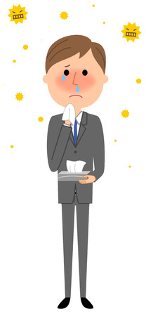 sneezing: Young businessman, Hay fever.