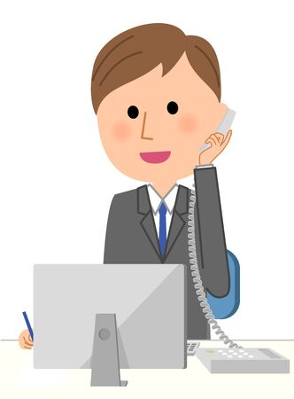 solicitation: Young businessman, Telephone and computer Illustration
