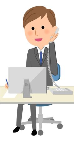 Young businessman, Telephone and computer Illustration