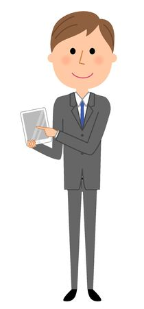 Young businessman, Tablet