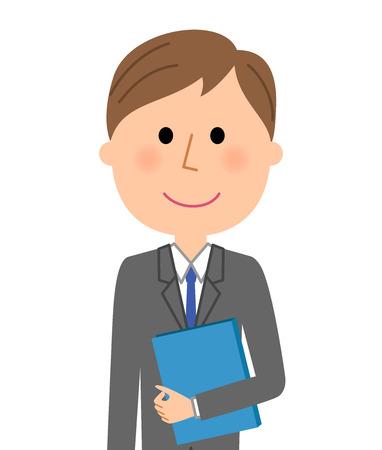 Young businessman, Having files  イラスト・ベクター素材