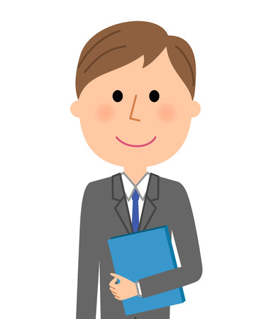Young businessman, Having files Illustration