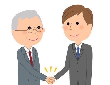 Joven empresario, estrechar la mano