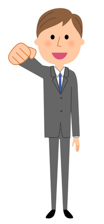 Young businessman, Victory Pause Illustration