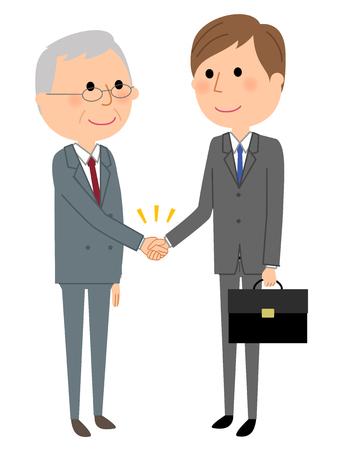 Jonge zakenman, handen schudden