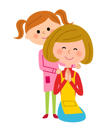 mother and baby: Parent and child, Shoulder massage Illustration