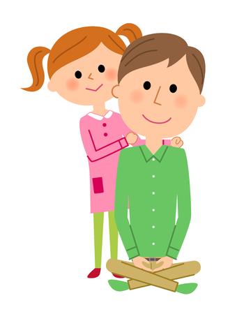 Parent and child, Shoulder massage Stock Illustratie