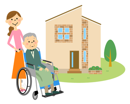 Elderly people sitting in a wheelchair with my home Ilustrace