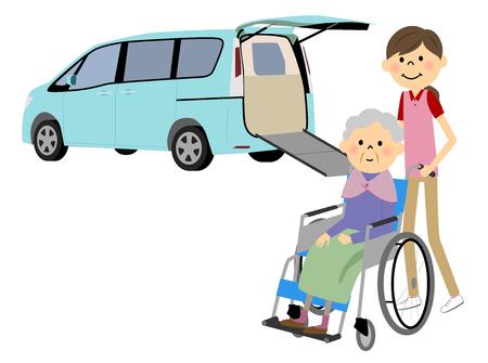 Welfare vehicles and elderly people Illustration